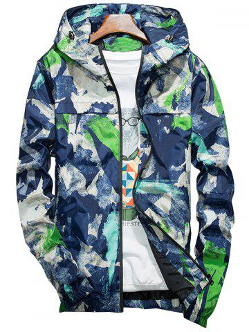 Online Camouflage Splatter Paint Lightweight Jacket BLUE L