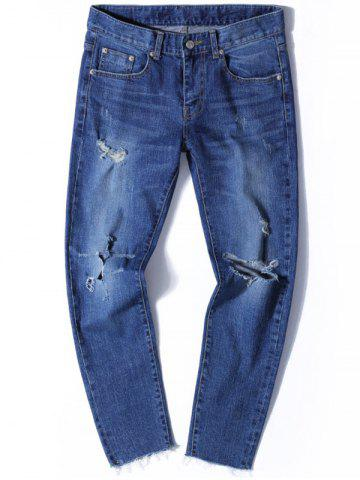 Zip Fly Tapered Fit Jeans with Knee Rips - Denim Blue - 38