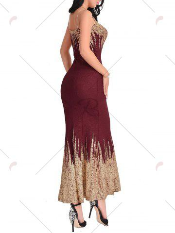 Fashion Open Back Printed Maxi Dress - XL WINE RED Mobile