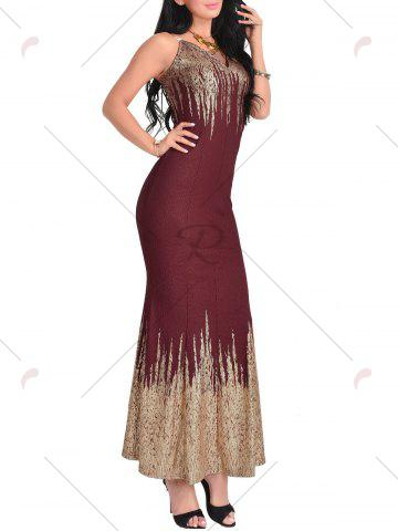 Shop Open Back Printed Maxi Dress - XL WINE RED Mobile