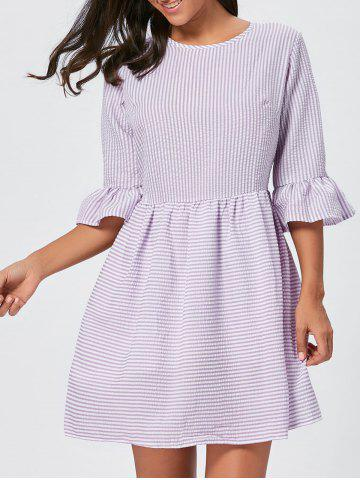 Shops Ruffle Sleeve Striped Seersucker Dress - L PURPLE Mobile