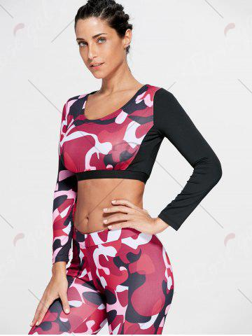 Affordable Camouflage Printed Sports Long Sleeve Crop Top - M RED Mobile