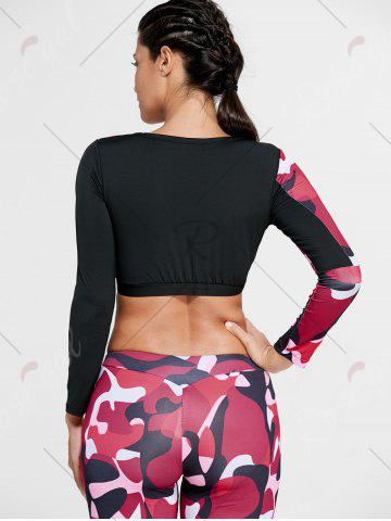 New Camouflage Printed Sports Long Sleeve Crop Top - M RED Mobile