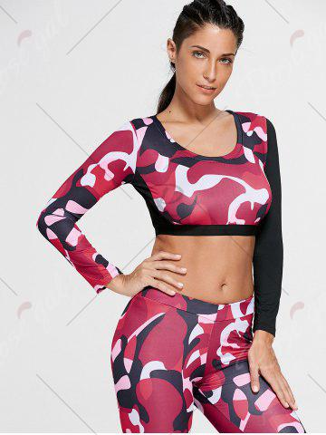 Affordable Camouflage Printed Sports Long Sleeve Crop Top - S RED Mobile
