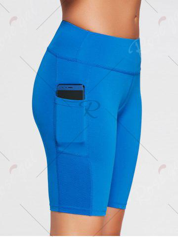 New Elastic Waist Sports Shorts with Pocket - XS SKY BLUE Mobile