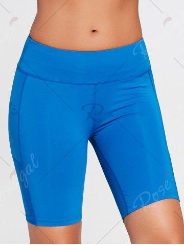 Affordable Elastic Waist Sports Shorts with Pocket - XS SKY BLUE Mobile