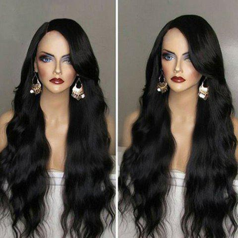 Hot Long Side Parting Wavy Synthetic Wig - BLACK  Mobile