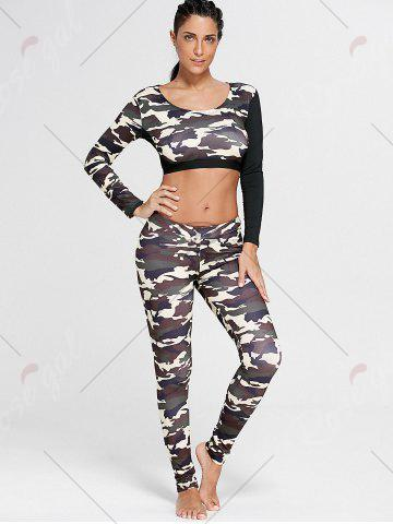 Chic Camouflage Printed Sports Long Sleeve Crop Top - M DUN Mobile