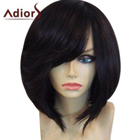 Latest Adiors Inclined Bang Short Straight Bob Synthetic Wig - BLACK  Mobile