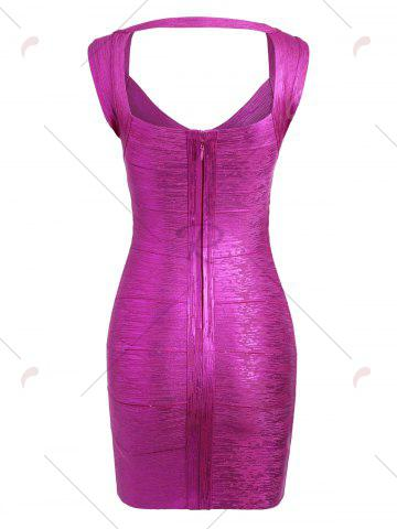 Discount Cut Out Bronzing Sweetheart Neck Bandage Dress - M SANGRIA Mobile