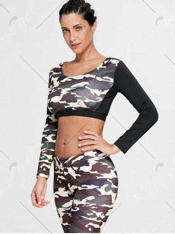 Fancy Camouflage Printed Sports Long Sleeve Crop Top - S DUN Mobile