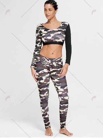 Sale Camouflage Printed Sports Long Sleeve Crop Top - S DUN Mobile