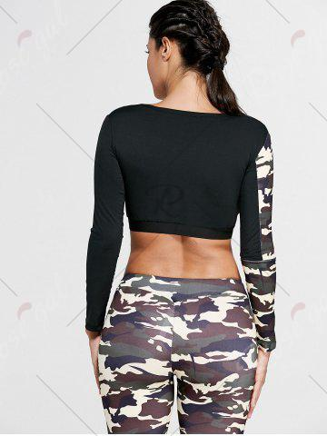 Trendy Camouflage Printed Sports Long Sleeve Crop Top - S DUN Mobile