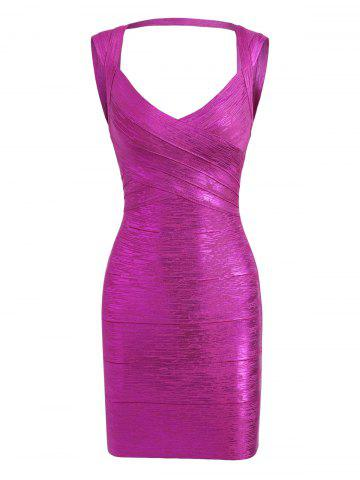 Trendy Cut Out Bronzing Sweetheart Neck Bandage Dress - L SANGRIA Mobile
