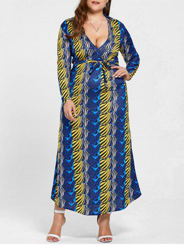Shops Long Sleeve Printed Plus Size Floor Length Dress - 2XL BLUE Mobile