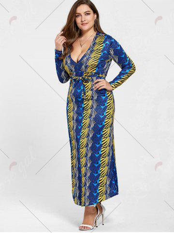 Chic Long Sleeve Printed Plus Size Floor Length Dress - 2XL BLUE Mobile