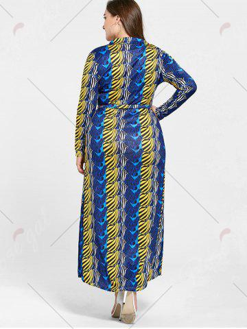 Affordable Long Sleeve Printed Plus Size Floor Length Dress - 2XL BLUE Mobile
