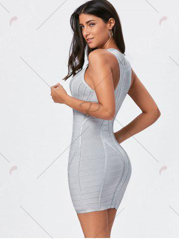 Affordable Metallic Plunging Neck Bandage Sheath Dress - S SILVER Mobile