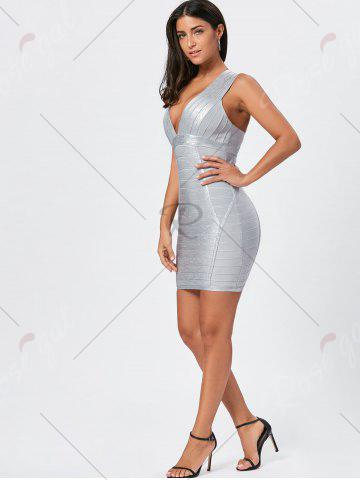 Best Metallic Plunging Neck Bandage Sheath Dress - S SILVER Mobile