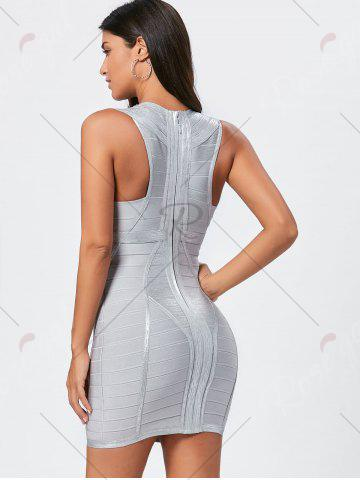 Fancy Metallic Plunging Neck Bandage Sheath Dress - S SILVER Mobile