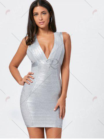 Discount Metallic Plunging Neck Bandage Sheath Dress - S SILVER Mobile