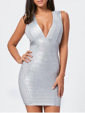 Chic Metallic Plunging Neck Bandage Sheath Dress - S SILVER Mobile