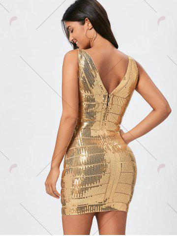 Shops Sequins Glitter Bandage Dress - S GOLDEN Mobile