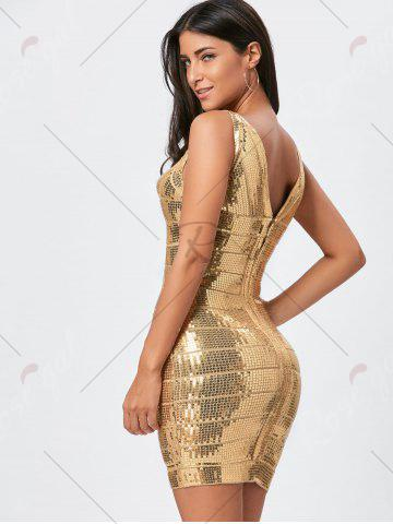 Best Sequins Glitter Bandage Dress - S GOLDEN Mobile