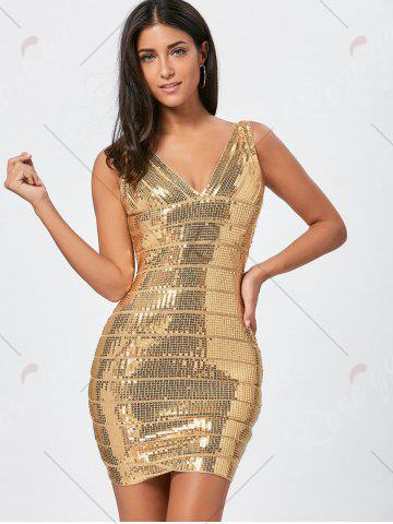 Buy Sequins Glitter Bandage Dress - S GOLDEN Mobile