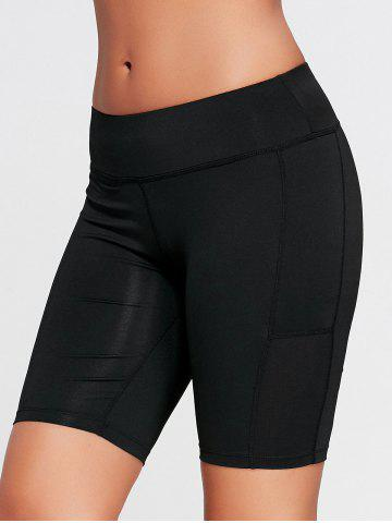 Store Elastic Waist Sports Shorts with Pocket - S BLACK Mobile
