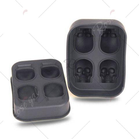 Hot Halloween 3D Skull Silicone Ice Cube Tray - BLACK  Mobile