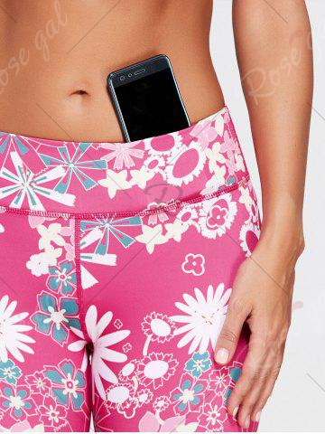 Affordable Sunflower Print Crop Running Tights - M TUTTI FRUTTI Mobile