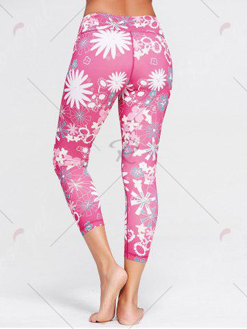 Affordable Sunflower Print Crop Running Tights - L TUTTI FRUTTI Mobile