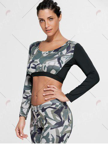 Online Camouflage Printed Sports Long Sleeve Crop Top - L ARMY GREEN Mobile