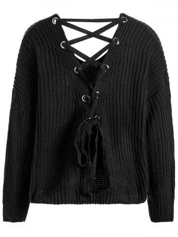 Drop Shoulder Lace Up Plus Size Sweater - Black - One Size