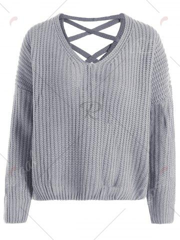 Hot Drop Shoulder Lace Up Plus Size Sweater - ONE SIZE GRAY Mobile