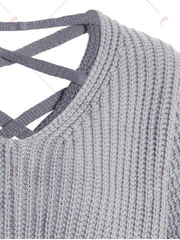 Best Drop Shoulder Lace Up Plus Size Sweater - ONE SIZE GRAY Mobile