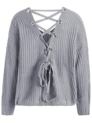 Buy Drop Shoulder Lace Up Plus Size Sweater - ONE SIZE GRAY Mobile