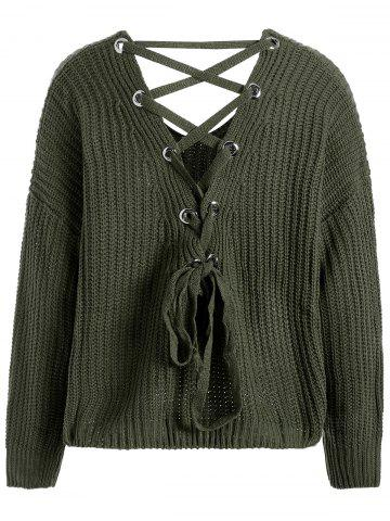 Best Drop Shoulder Lace Up Plus Size Sweater - ONE SIZE BLACKISH GREEN Mobile