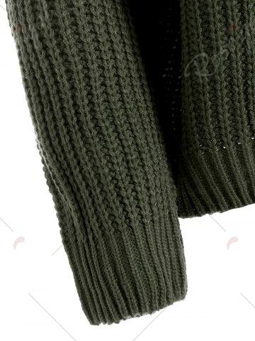 Online Drop Shoulder Lace Up Plus Size Sweater - ONE SIZE BLACKISH GREEN Mobile