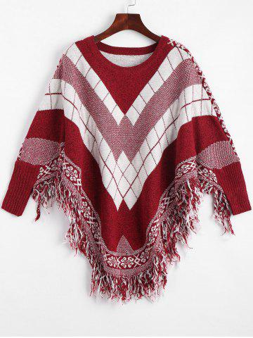 Sale Fringed Geometric Poncho Plus Size Sweater WINE RED ONE SIZE