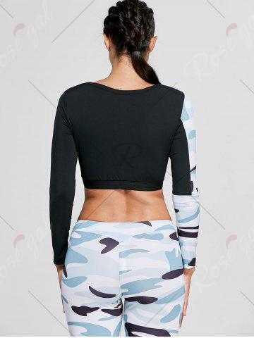 Hot Camouflage Printed Sports Long Sleeve Crop Top - M WHITE Mobile