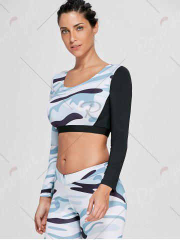 Shop Camouflage Printed Sports Long Sleeve Crop Top - M WHITE Mobile