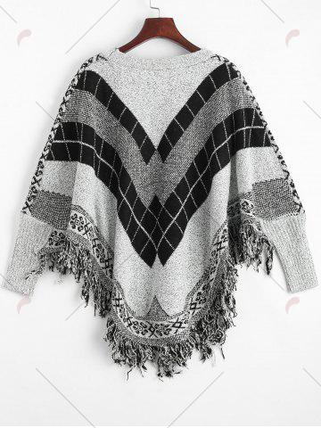 Shop Fringed Geometric Poncho Plus Size Sweater - ONE SIZE GRAY Mobile