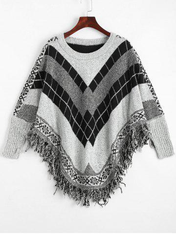 Trendy Fringed Geometric Poncho Plus Size Sweater - ONE SIZE GRAY Mobile