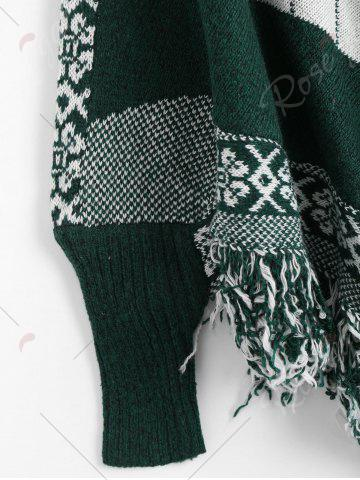 Outfit Fringed Geometric Poncho Plus Size Sweater - ONE SIZE BLACKISH GREEN Mobile