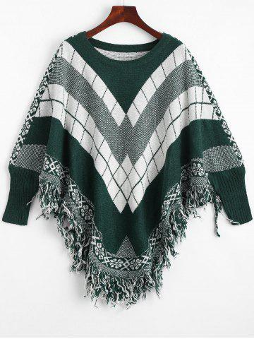 Shop Fringed Geometric Poncho Plus Size Sweater - ONE SIZE BLACKISH GREEN Mobile
