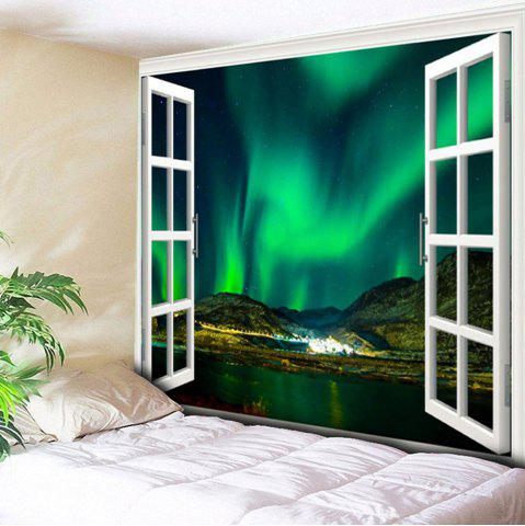 Wall Hanging Window Aurora Printed Tapestry - Green - W79 Inch * L59 Inch