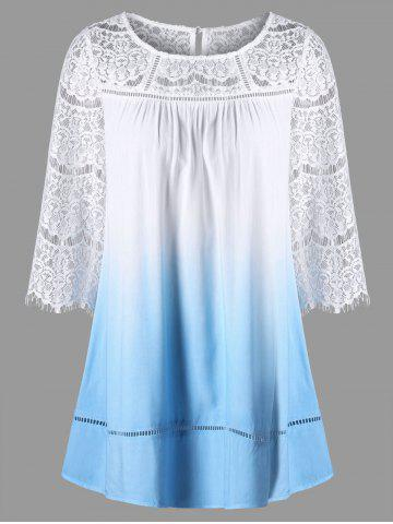Outfits Lace Yoke Ombre Longline Top - L CLOUDY Mobile