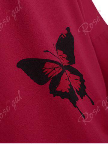 Chic Butterfly Skew Neck Drop Shoulder Plus Size Top - XL RED Mobile